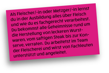 allgemeine Informationen über den Beruf Fleischer/-in